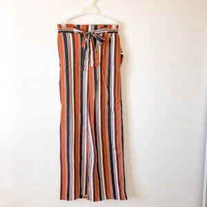 Ambiance Apparel Orange Striped Wide Leg Pants